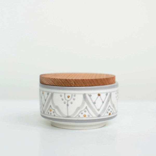 Hand-Painted Ceramic Box w/ Wooden Lid - Grey I