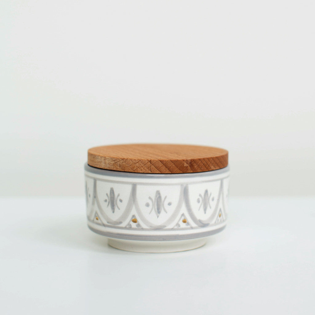 Hand-Painted Ceramic Box w/ Wooden Lid - Grey III