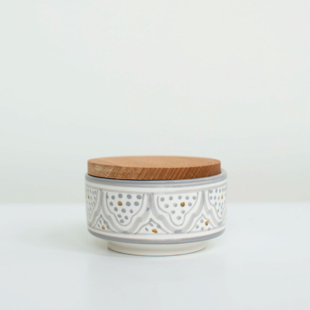 Hand-Painted Ceramic Box w/ Wooden Lid - Grey II