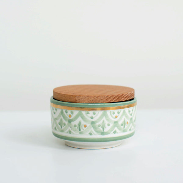 Hand-Painted Ceramic Box w/ Wooden Lid - Celadon II