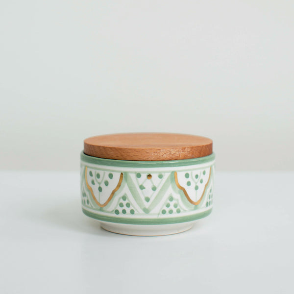 Hand-Painted Ceramic Box w/ Wooden Lid - Celadon IV