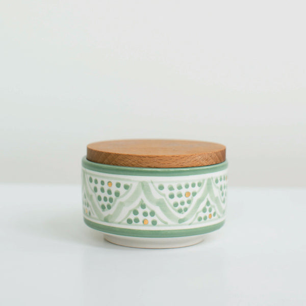 Hand-Painted Ceramic Box w/ Wooden Lid - Celadon I