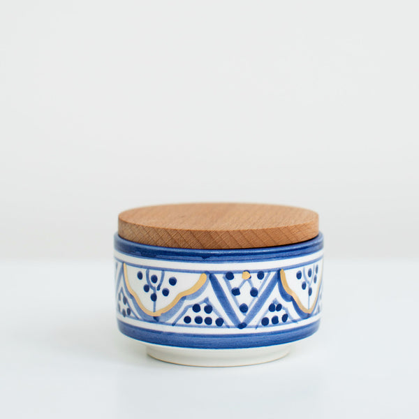 Hand-Painted Ceramic Box w/ Wooden Lid - Royal Blue I