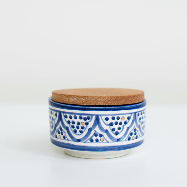 Hand-Painted Ceramic Box w/ Wooden Lid - Royal Blue II