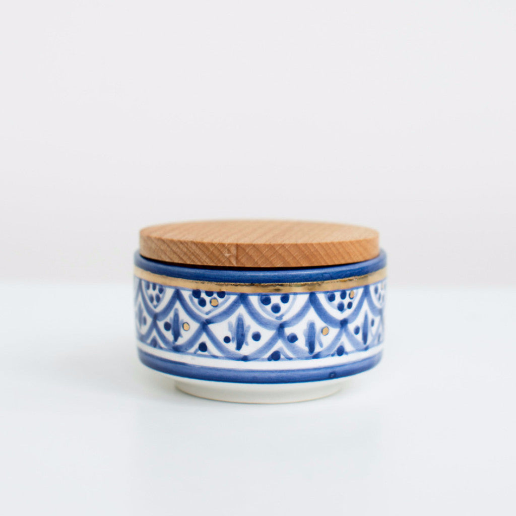 Hand-Painted Ceramic Box w/ Wooden Lid - Royal Blue III