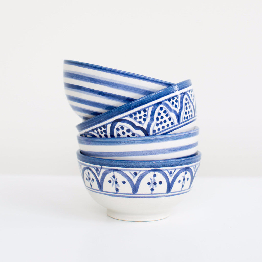 Hand-Painted Ceramic Soup Bowls - Royal Blue (Set of 2)