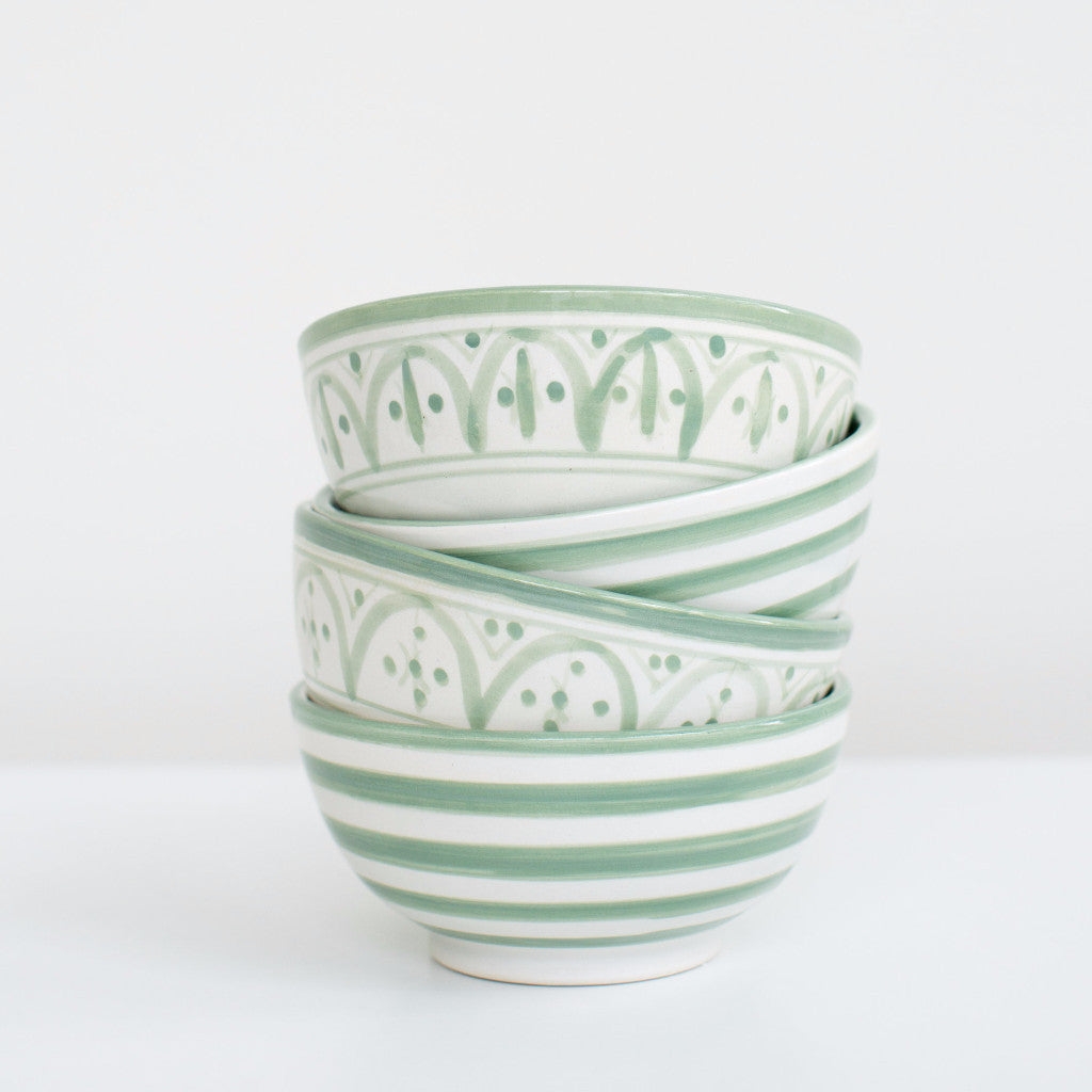 Hand-Painted Ceramic Soup Bowls - Celadon (Set of 2)