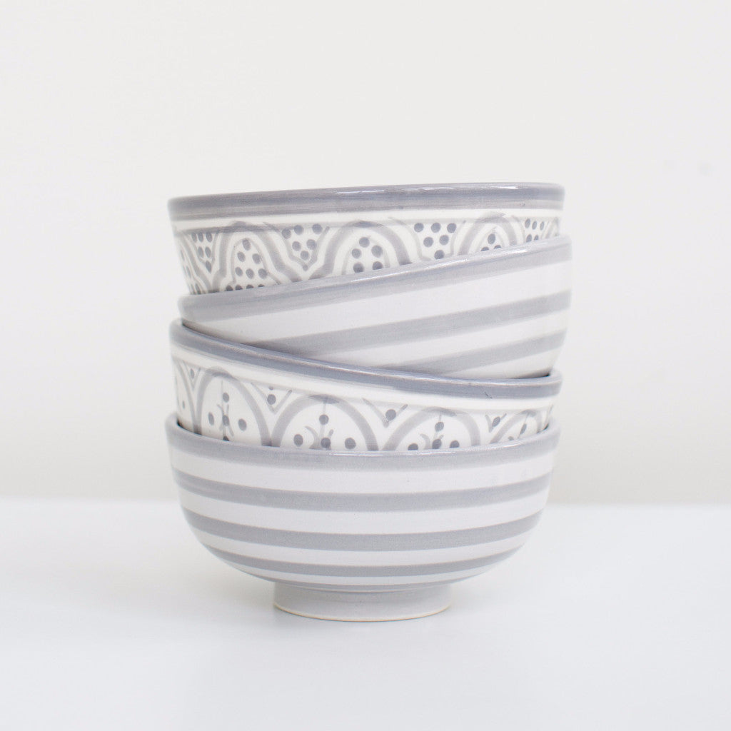 Hand-Painted Ceramic Soup Bowls - Grey (Set of 2)