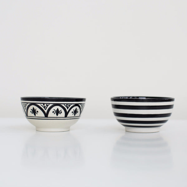 Hand-Painted Ceramic Snack Bowls - Black (Set of 2)