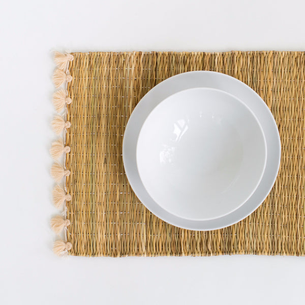 Straw Table Mats with Tassels - Cream (Set of 2)