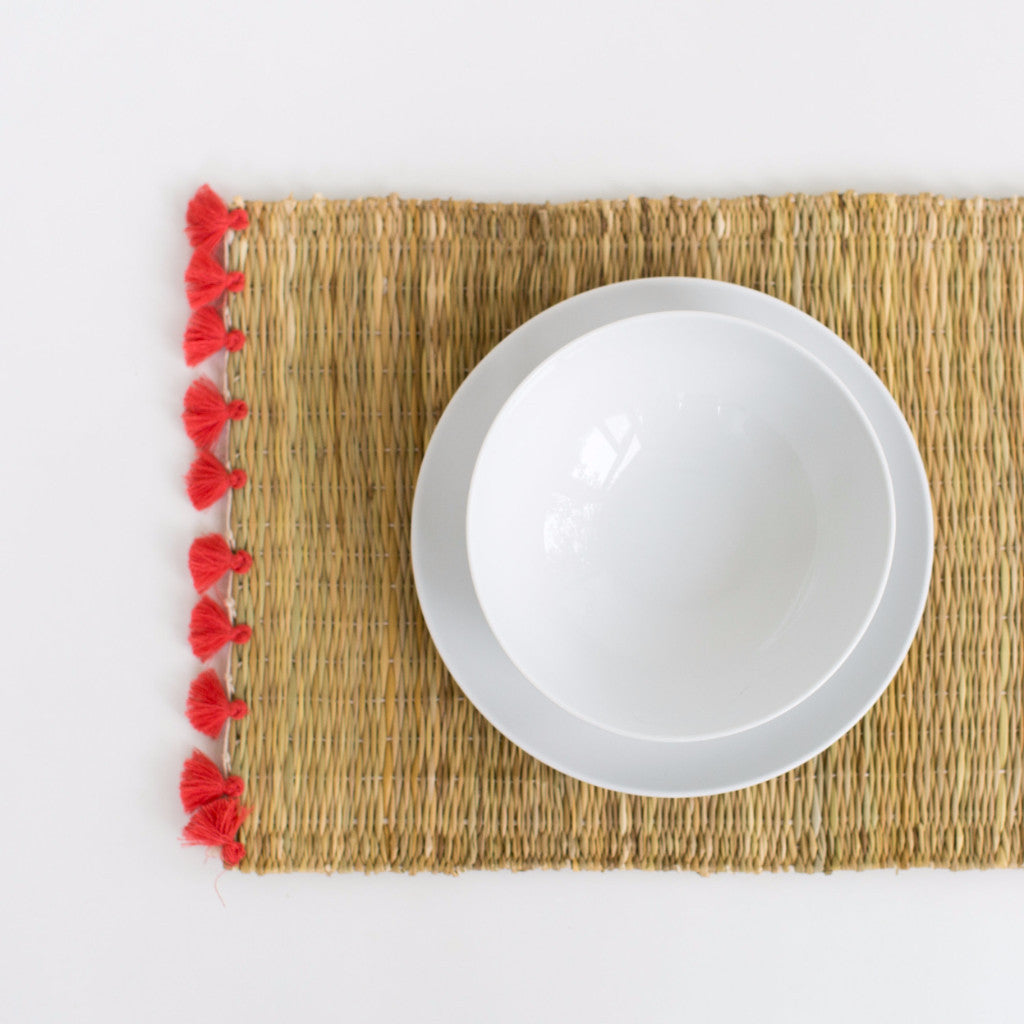 Straw Table Mats with Tassels - Coral (Set of 2)