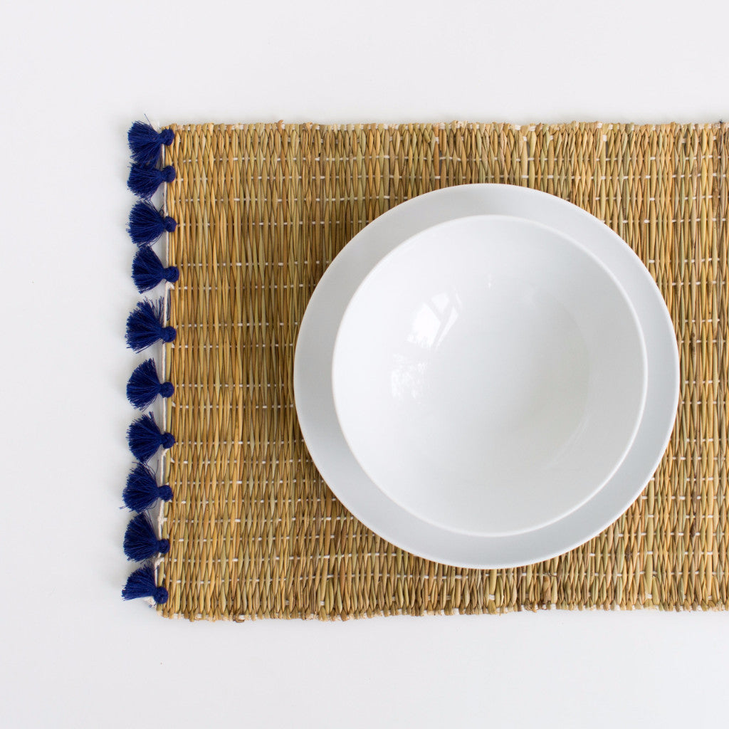 Straw Table Mats with Tassels - Royal Blue (Set of 2)