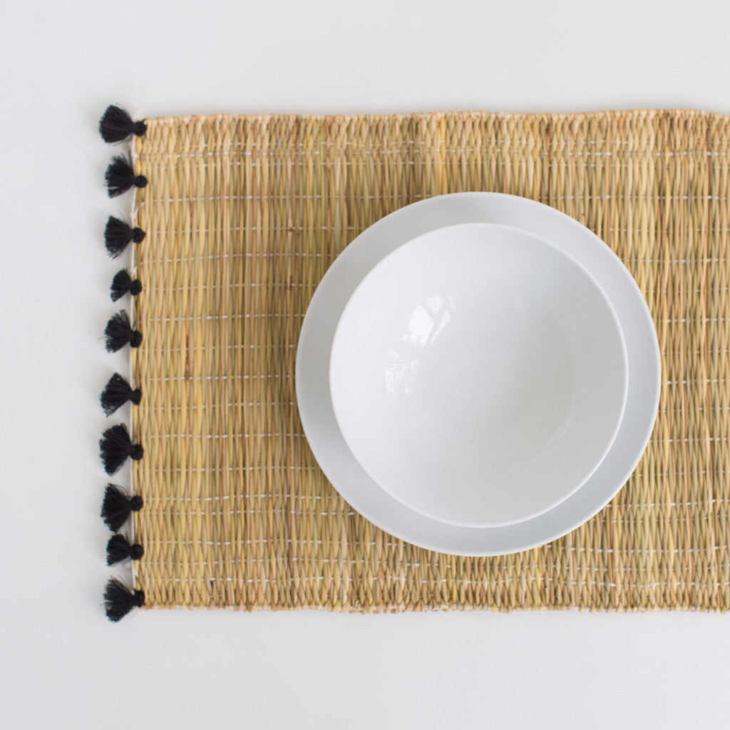 Straw Table Mats with Tassels - Black (Set of 2)