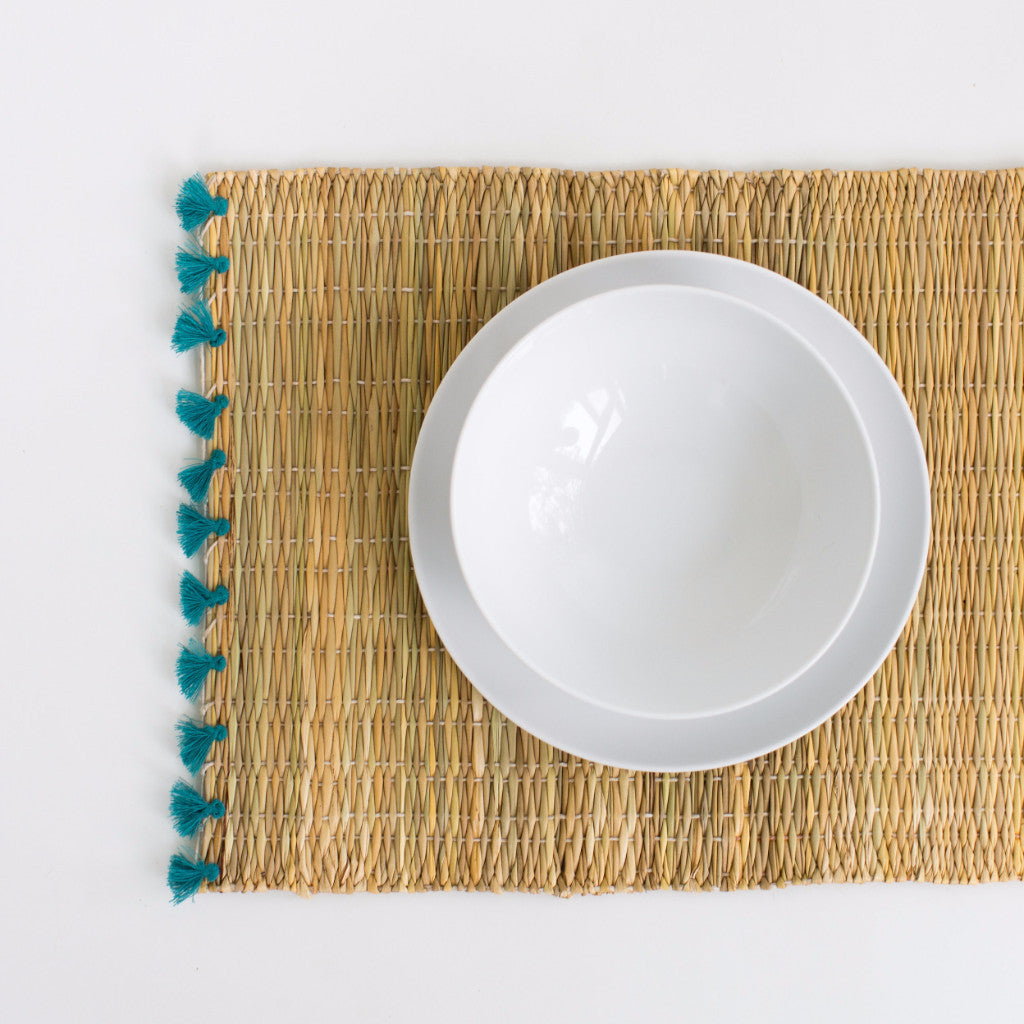 Straw Table Mats with Tassels - Teal (Set of 2)