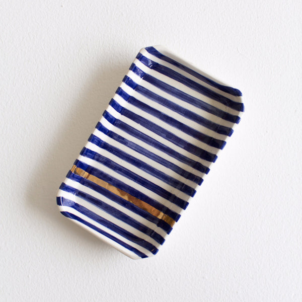 Gold Ceramic Tray - Royal Blue Striped