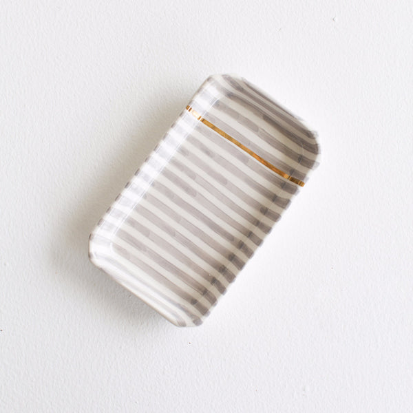 Gold Ceramic Tray - Grey Striped