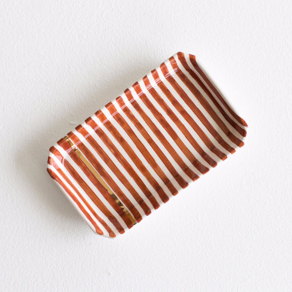 Gold Ceramic Tray - Marsala Striped