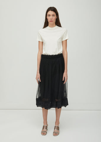 Pleated Lace Trimmed Skirt