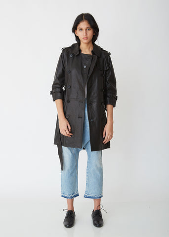 Leather 3/4 Sleeve Trench Coat