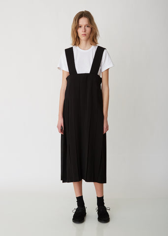 Pleated Georgette Pinafore Dress