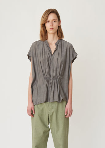 Pleated Jersey Blouse