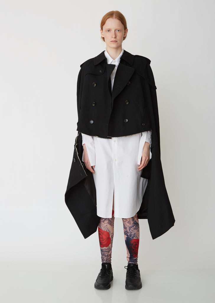Double Breasted Wool Gabardine Cape Coat
