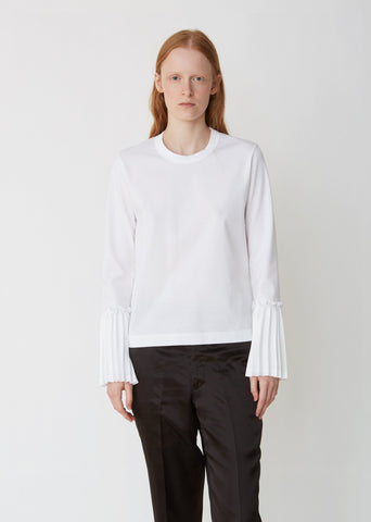 Cotton Ponte Top With Pleated Sleeves