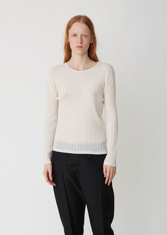 Rib Pleats Long Sleeve Top