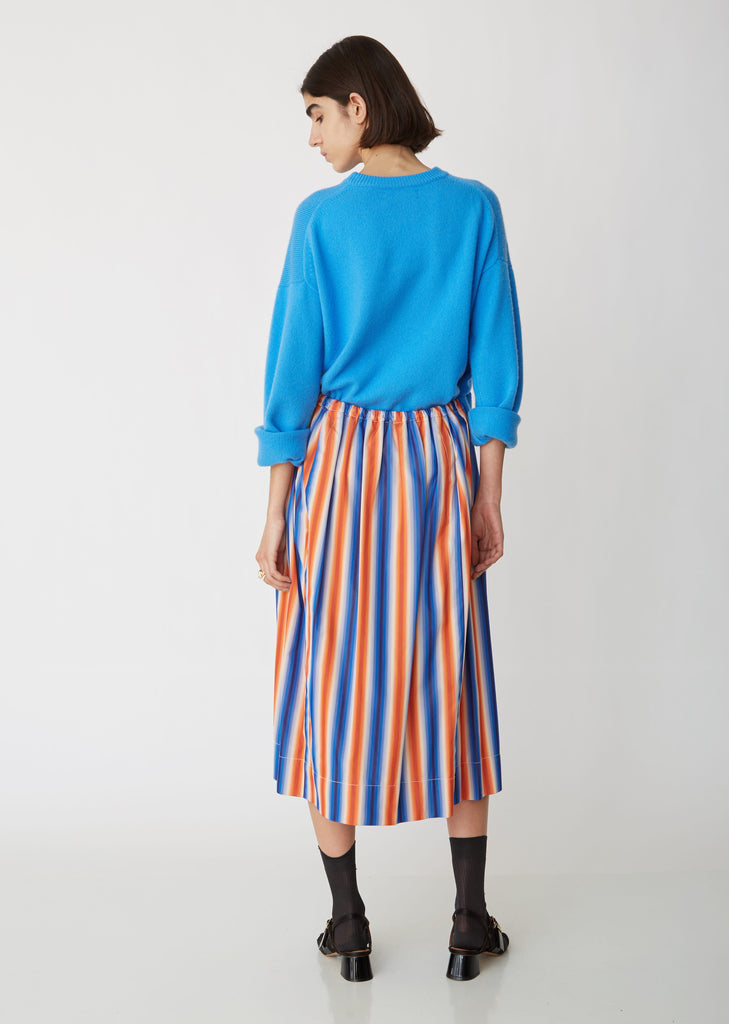 Striped Cotton Mid-Length Skirt