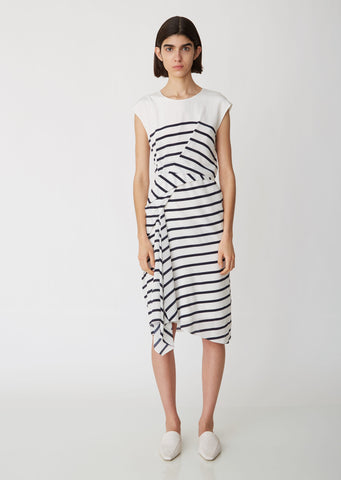 Anita Silk Stripe Side Gather Dress
