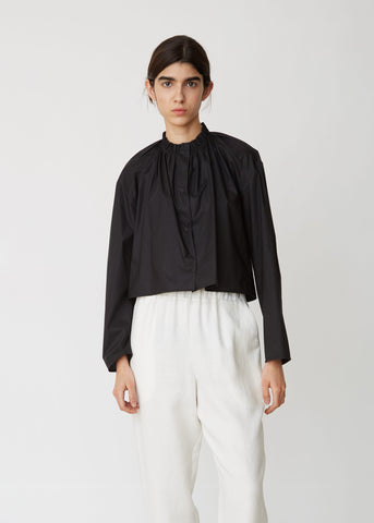 Cropped Gathered Cotton Shirt