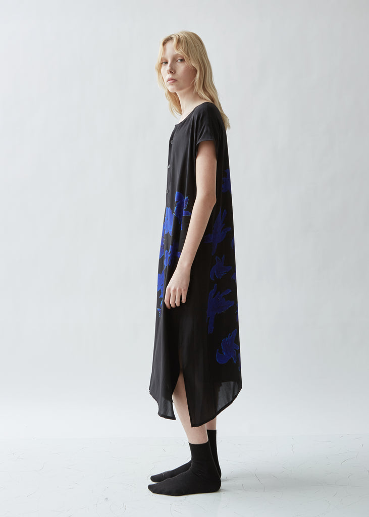 Silk Button Front Asymmetrical Dress