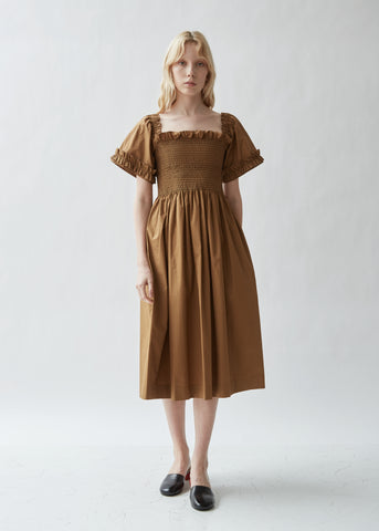 Adelaide Cotton Poplin Shirred Dress