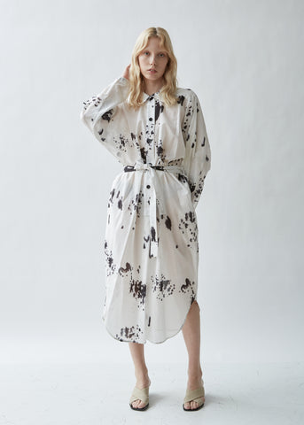 Printed Cotton Voile Shirt Dress