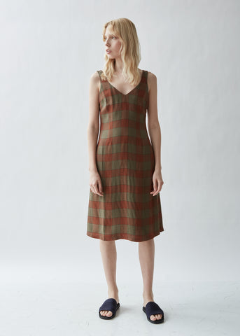 Bias Cut Midi Check Dress
