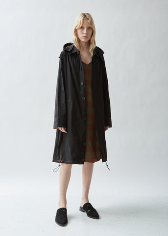 Drawstring Hooded Trench Coat