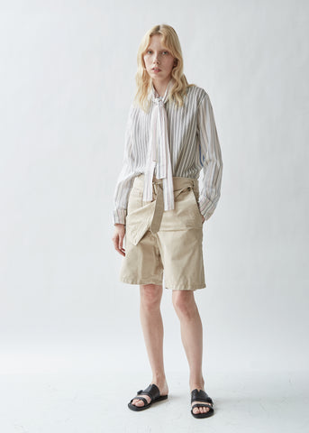 Fold Front Cotton Utility Shorts