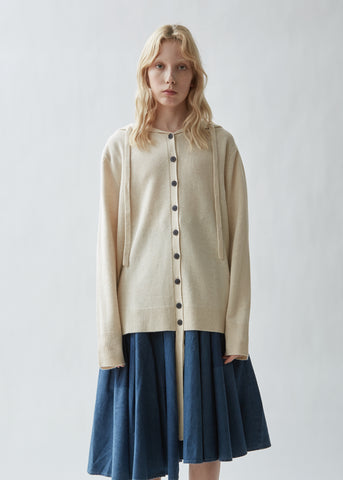 Wool Cashmere Hooded Cardigan