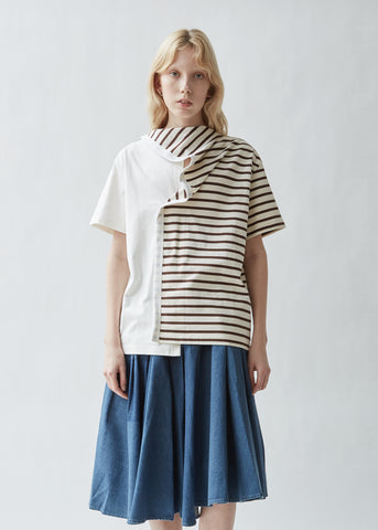 Striped Jersey Tee With Draped Scarf