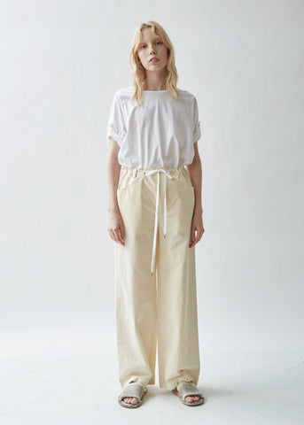 Drawstring Waist Washed Cotton Trousers