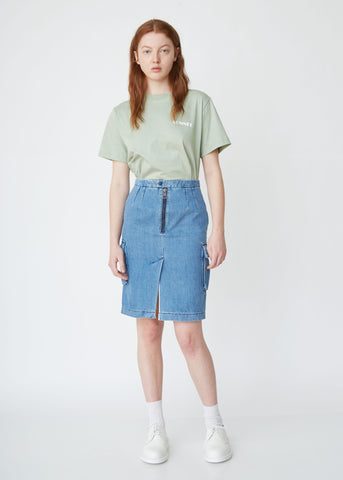 Washed Denim Cargo Skirt