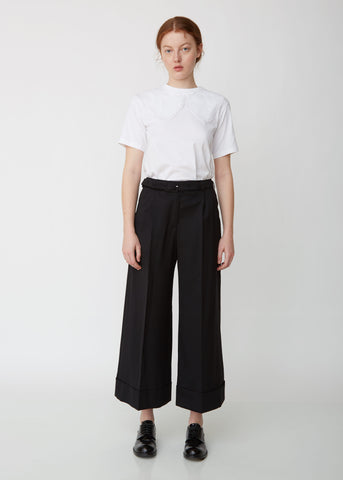 Tailored Wide Leg Trouser W/ Marabou Trim