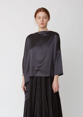 Washed Satin Asymmetric Blouse