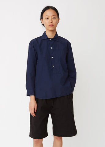 Asymmetric Collared Cotton Shirt