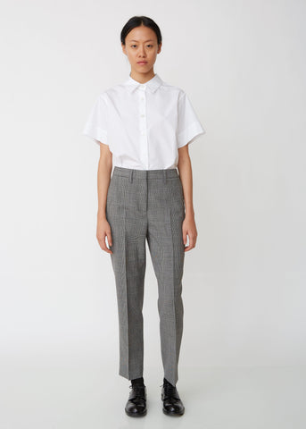 Mid-Rise Wool Cropped Trousers