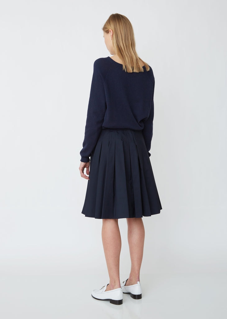 Classic Pleated Cotton Poplin Skirt