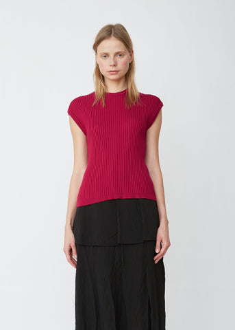 Ribbed Knitted Silk Tank