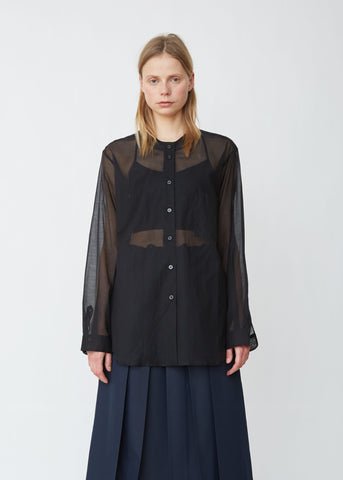 Cotton Silk Oversize Collarless Shirt