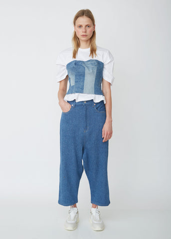 Cotton Stretch Drop Crotch Denim Pants