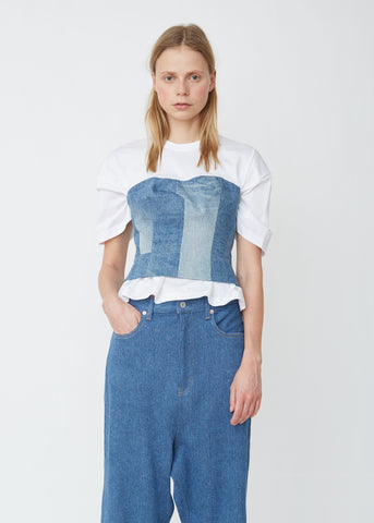 Denim Corset Cotton Crewneck Top